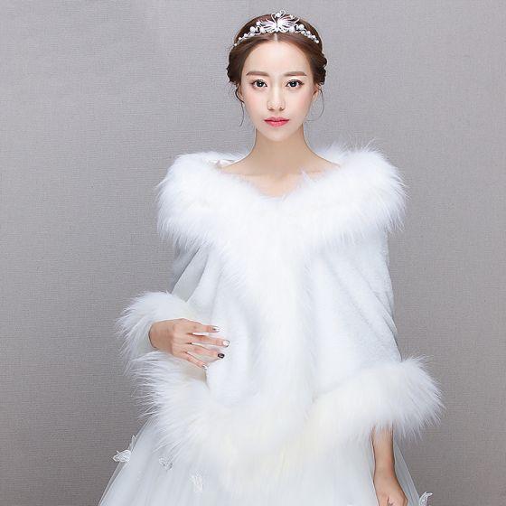 White Winter Faux Fur Prom Wedding Shawls 2017