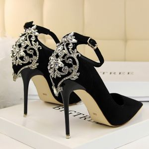 Charming Black Evening Party Pumps 2020 Rhinestone Suede Ankle Strap 10 cm Stiletto Heels Pointed Toe Pumps