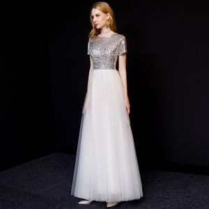 Chic / Beautiful White Evening Dresses  2019 A-Line / Princess Scoop Neck Sequins Short Sleeve Floor-Length / Long Formal Dresses