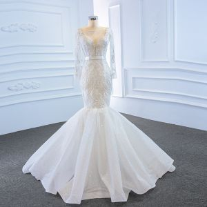 High-end White See-through Bridal Wedding Dresses 2020 Trumpet / Mermaid Scoop Neck Long Sleeve Backless Sash Appliques Lace Beading Glitter Tulle Sweep Train Ruffle