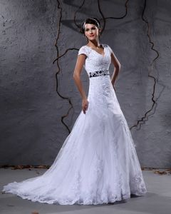 Gauze Applique Chapel Train A-line Wedding Dress