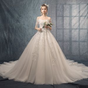 Best Ivory Wedding Dresses 2019 A-Line / Princess Off-The-Shoulder 1/2 Sleeves Backless Appliques Lace Chapel Train Ruffle