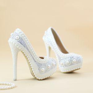 Chic / Beautiful White Pearl Wedding Shoes 2019 Rhinestone 14 cm Stiletto Heels Round Toe Wedding Pumps