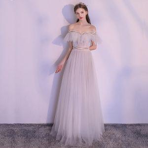 Brillante Blanco Largos Vestidos de noche 2018 A-Line / Princess Tul Sin Espalda Rebordear Perla Sin Tirantes Noche Vestidos Formales