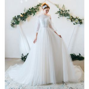 Elegant Ivory Wedding Dresses 2020 A-Line / Princess Ruffle Scoop Neck Lace Flower 3/4 Sleeve Backless Court Train