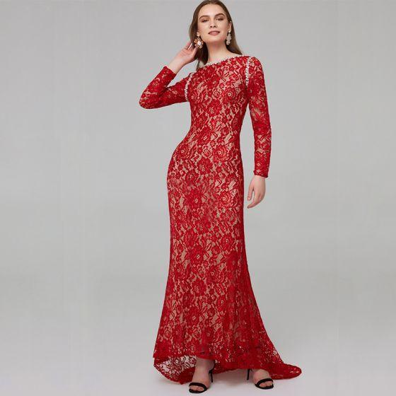 Chic / Belle Rouge Robe De Mère De Mariée 2020 Trompette / Sirène Manches Longues U-Cou Perlage Brodé Faux Diamant Train De Balayage Mariage Soirée Robe Pour Mariage