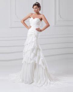 Taft Blume Applique Pailletten Liebsten Hofzug Tiered Mantel Brautkleid