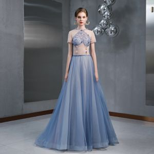 Chic / Beautiful Sky Blue Evening Dresses  2020 A-Line / Princess Scoop Neck Beading Appliques Sequins Short Sleeve Floor-Length / Long Formal Dresses