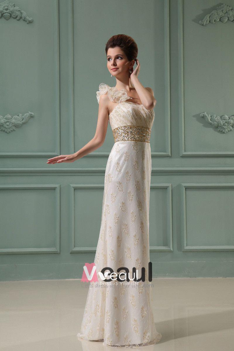 One Shoulder Sleeveless Zipper Pleated Flower Printed Floor Length Lace Woman Empire Wedding Dress