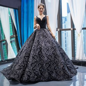 Luxury / Gorgeous Handmade  Beading Black Prom Dresses 2020 Ball Gown Deep V-Neck Sleeveless Appliques Lace Chapel Train Backless Ruffle Formal Dresses