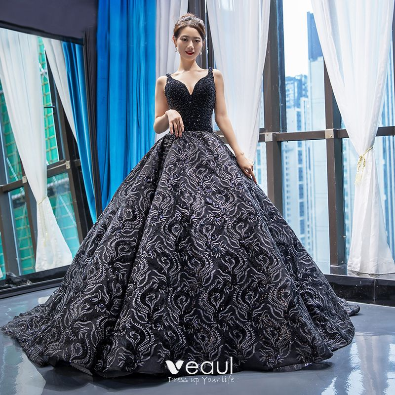 Luxury Gorgeous Handmade Beading Black Prom Dresses 2020 Ball Gown Deep V Neck Sleeveless Appliques Lace Chapel Train Backless Ruffle Formal Dresses