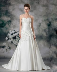 Satin Applique Sequins Floor Length Sweetheart Women A Line Wedding Dress