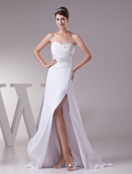 Perles De Cristal De Luxe Chérie Bustier Longue Robe Plissée Robe De Bal Blanc