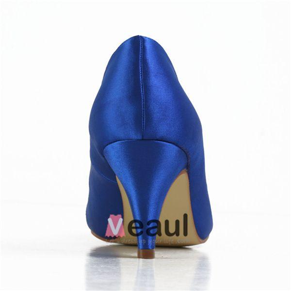 Comfortable Peep Toe Pumps Blue Satin Bridal Wedding Shoes
