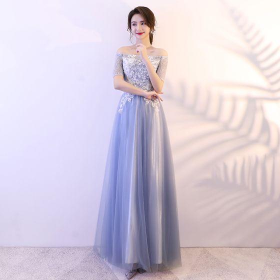 Affordable Sky Blue Prom Dresses 2018 A-Line / Princess Lace Sequins Off-The-Shoulder Backless Short Sleeve Floor-Length / Long Formal Dresses