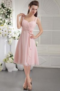 2015 Tea-length A-line Straps Short Bridesmaids Dresses