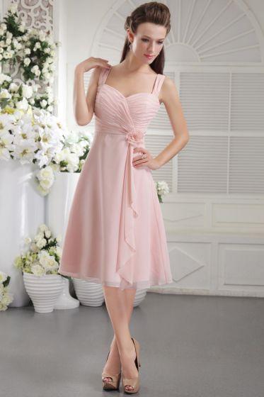 2015 Tea-length A-line Straps Short Bridesmaids Dresses