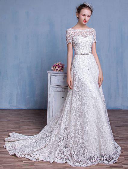 Wysokiej Klasy Suknia Ślubna 2016 A-biała Linia Linkę Koronki Ssuknie Ślubne Z Dżetów Szarfą