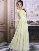 2015 Luxus-A-linie Spitze Mit Perlen Lange Ärmel Abendkleid