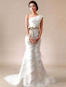 2015 A-linie One Shoulder Gefalteter Satin-Schleife-schärpe Organza Brautkleid