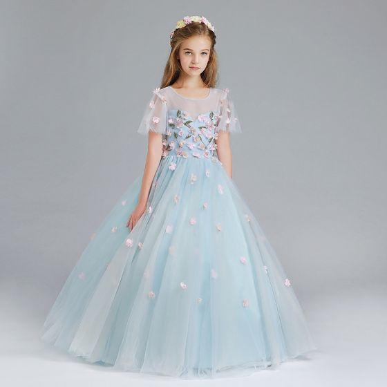 Chic / Beautiful Sky Blue Flower Girl Dresses 2017 Ball Gown Scoop Neck Short Sleeve Appliques Flower Floor-Length / Long Ruffle Pierced Wedding Party Dresses