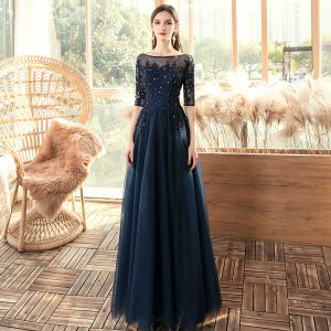 Chic / Beautiful Navy Blue See-through Evening Dresses  2020 A-Line / Princess Square Neckline 1/2 Sleeves Appliques Lace Sequins Beading Floor-Length / Long Ruffle Backless Formal Dresses