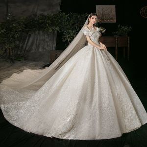 Elegant Champagne Bridal Wedding Dresses 2020 Ball Gown Off-The-Shoulder Short Sleeve Backless Appliques Lace Beading Glitter Tulle Cathedral Train Ruffle