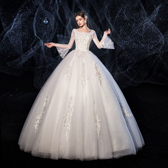 Affordable Ivory Wedding Dresses 2020 Ball Gown Glitter Tulle Scoop Neck Beading Lace Flower Bell sleeves Backless Floor-Length / Long