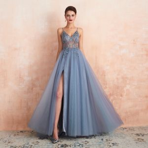 High-end Sexy Sky Blue See-through Evening Dresses  2020 A-Line / Princess Spaghetti Straps Sleeveless Beading Split Front Sweep Train Ruffle Backless Formal Dresses