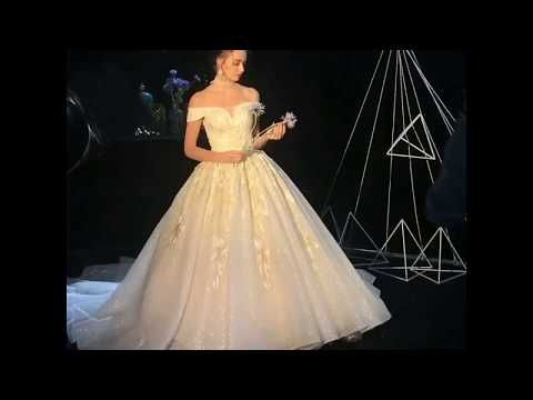 Bling Bling Champagne Wedding Dresses 2019 A-Line / Princess Off-The-Shoulder Short Sleeve Backless Appliques Lace Glitter Tulle Cathedral Train Ruffle