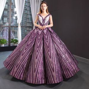 Magnífico Uva Bailando Vestidos de gala 2020 Ball Gown Transparentes V-Cuello Sin Mangas Apliques Con Encaje Rebordear Lentejuelas Largos Ruffle Sin Espalda Vestidos Formales