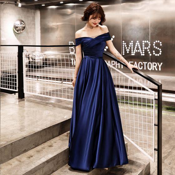 Elegant Navy Blue Satin Evening Dresses  2019 A-Line / Princess Off-The-Shoulder Short Sleeve Sash Floor-Length / Long Ruffle Backless Formal Dresses