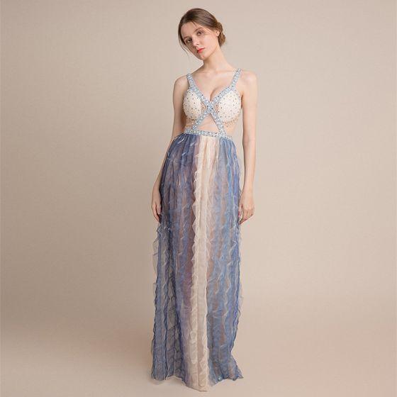 Vestidos de noche color azul cielo