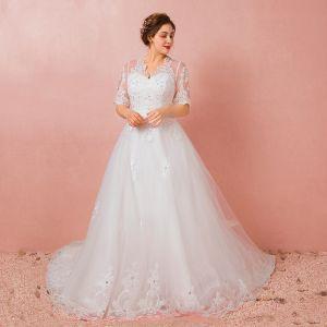 Luxus / Herrlich Ivory / Creme 2018 Hochzeit A Linie V-Ausschnitt Mit Spitze Tülle 1/2 Ärmel Perlenstickerei Applikationen Rückenfreies Sommer Brautkleider