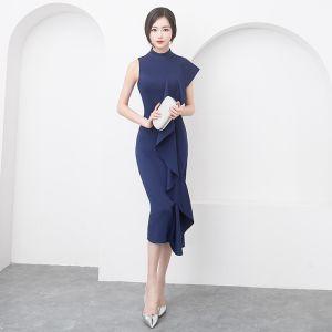 Moderne / Mode Simple Bleu Marine Robe De Soirée 2019 Trompette / Sirène Encolure Dégagée Sans Manches Thé Longueur Robe De Ceremonie