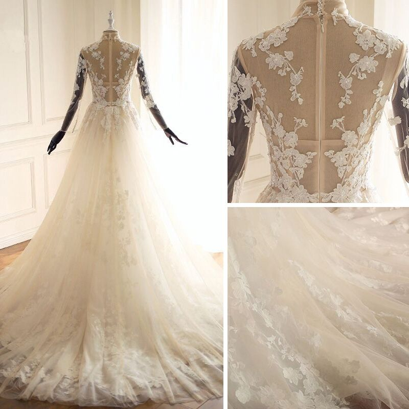 Illusion Champagne See-through Wedding Dresses 2018 A-Line / Princess Lace Appliques High Neck Long Sleeve Chapel Train Wedding