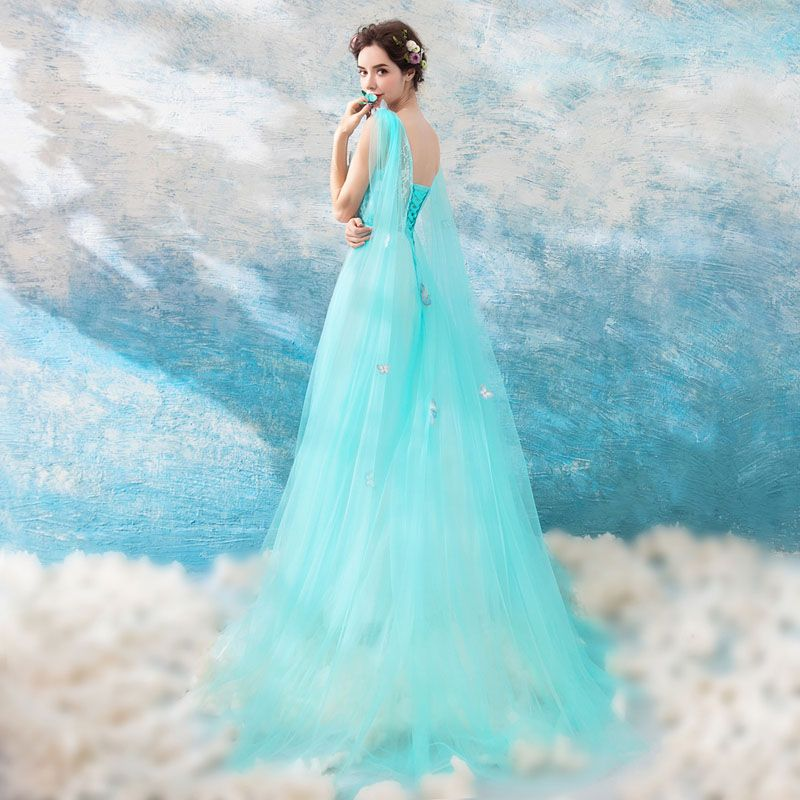 Chic / Beautiful Pool Blue Evening Dresses  2018 A-Line / Princess V-Neck Sleeveless Appliques Butterfly Watteau Train Ruffle Backless Formal Dresses