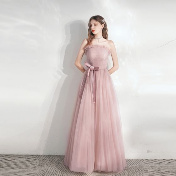 Chic / Beautiful Blushing Pink Prom Dresses 2021 A-Line / Princess Strapless Bow Sleeveless Backless Floor-Length / Long Prom Formal Dresses