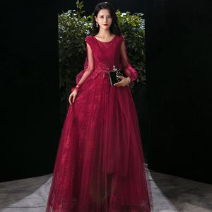 Victorian Style Burgundy Evening Dresses  2020 A-Line / Princess Scoop Neck Puffy Short Sleeve Appliques Lace Beading Floor-Length / Long Ruffle Backless Formal Dresses