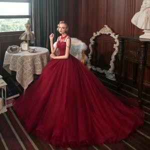 Best Red Evening Dresses  2020 A-Line / Princess Spaghetti Straps Sleeveless Beading Tassel Glitter Tulle Sweep Train Backless Formal Dresses