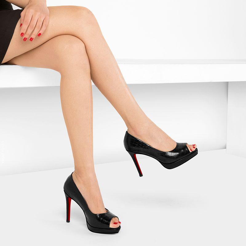 Modern / Fashion Evening Party Pumps 2017 Hall Leather Platform High Heel Open / Peep Toe Pumps