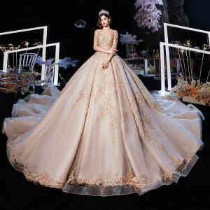 Luxury / Gorgeous Champagne Wedding Dresses 2020 Ball Gown See-through Scoop Neck 3/4 Sleeve Backless Glitter Tulle Appliques Lace Beading Cathedral Train Ruffle