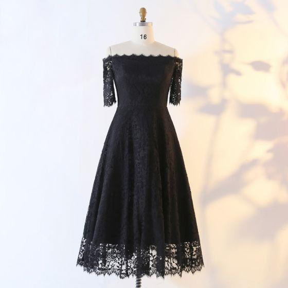 Sexy Stunning Black Evening Dresses  2020 A-Line / Princess 1/2 Sleeves Handmade  Solid Color Tea-length Evening Party Outdoor / Garden Summer Formal Dresses
