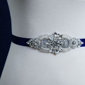 Modest / Simple Royal Blue Prom Sash 2020 Handmade  Satin Metal Beading Crystal Rhinestone Bridal Wedding Accessories