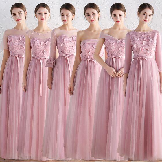 Niedrogie Rumieniąc Różowy Sukienki Dla Druhen 2019 Princessa Szarfa Aplikacje Z Koronki Długie Bez Pleców Wzburzyć Sukienki Na Wesele