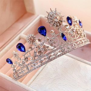 Amazing / Unique Royal Blue Bridal Jewelry 2017 Metal Rhinestone Beading Crystal Headpieces Wedding Prom Accessories