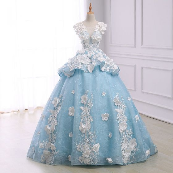 Flower Fairy Sky Blue Pierced Prom Dresses 2018 Ball Gown Scoop Neck Sleeveless Appliques Lace Flower Pearl Chapel Train Ruffle Backless Formal Dresses