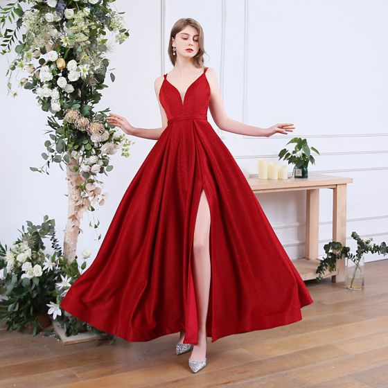 Sexy Red Prom Dresses 2020 A-Line / Princess Spaghetti Straps Sleeveless Glitter Polyester Split Front Floor-Length / Long Ruffle Backless Formal Dresses