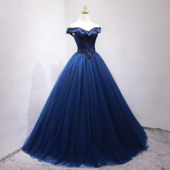 Vintage / Retro Navy Blue Prom Dresses 2019 Ball Gown Off-The-Shoulder Beading Crystal Sleeveless Backless Floor-Length / Long Formal Dresses
