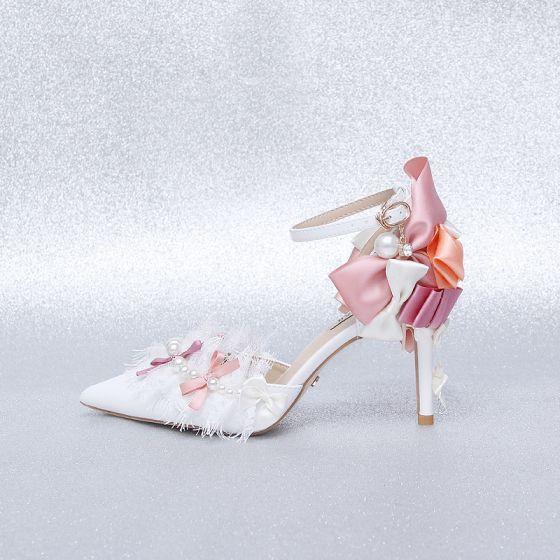 Charmant Ivoire Promo Chaussures Femmes 2020 En Dentelle Perle Noeud Bride Cheville 9 cm Talons Aiguilles À Bout Pointu Talons Hauts